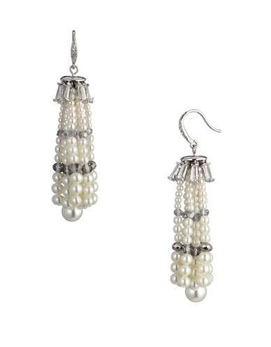 Carolee Pearl Crystal Tassel Earrings-WHITE-One Size