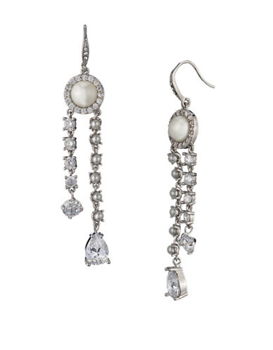 Carolee Crystals and Pearl Linear Earring-WHITE-One Size