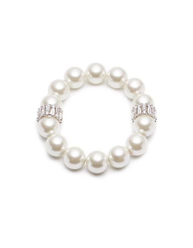 Carolee Pearl Premier Simulated  Faux Pearl and Crystal Bracelet-WHITE-One Size
