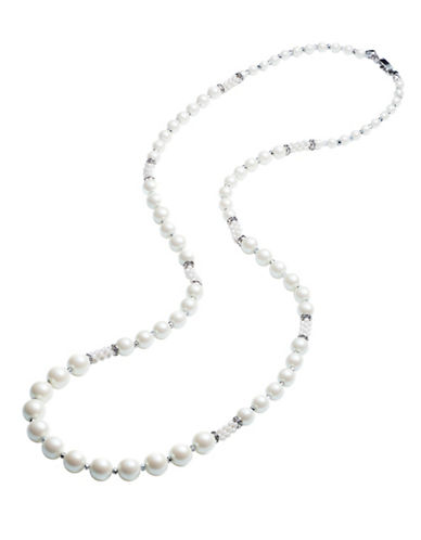 Carolee Pearl Premier Simulated Faux Pearl and Crystal Necklace-WHITE-One Size
