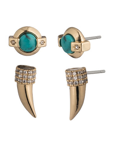 Lauren Ralph Lauren Set of Two Crystal Stud Earrings-GOLD-One Size