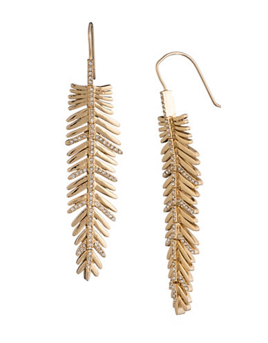 Lauren Ralph Lauren Linear Feather Stone Earrings-WHITE-One Size