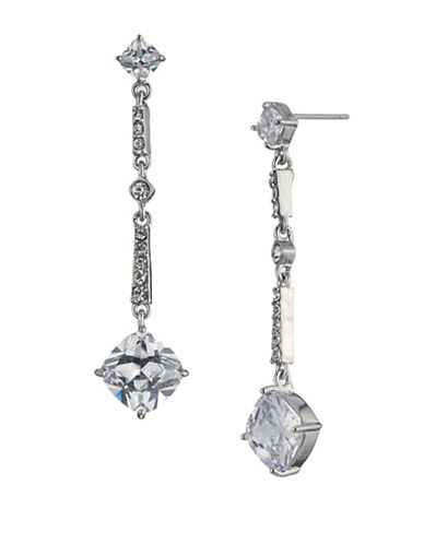 Carolee Social Soiree Crystal Drop Earrings-WHITE-One Size
