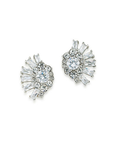 Carolee Social Soiree Crystal Clip Earrings-WHITE-One Size