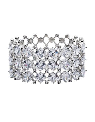 Carolee Social Soiree Crystal Drama Hinged Cuff Bracelet-WHITE-One Size