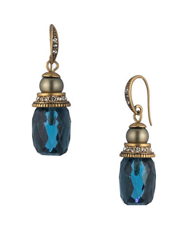 Carolee Pacific Gala Crystal Faceted Stone Column Earrings-GOLD-One Size