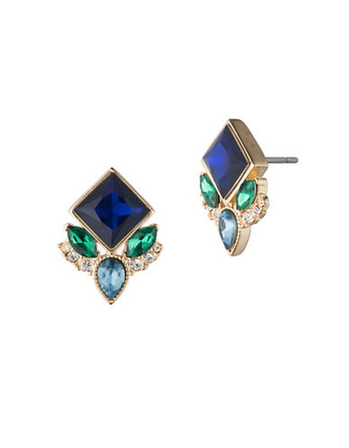 Carolee Pacific Gala Multi-Crystal Stud Earrings-GOLD-One Size