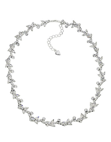 Carolee Floral Crystal Necklace-SILVER-One Size