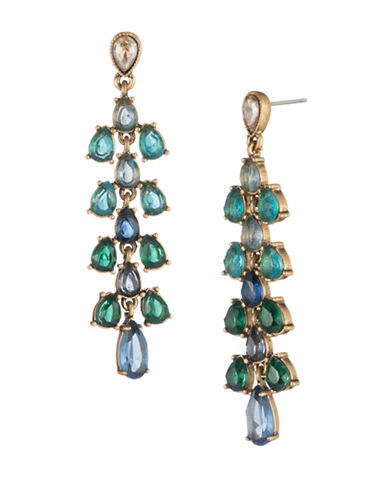 Carolee Pacific Gala Crystal Ombré Stone Cascade Earrings-GOLD-One Size