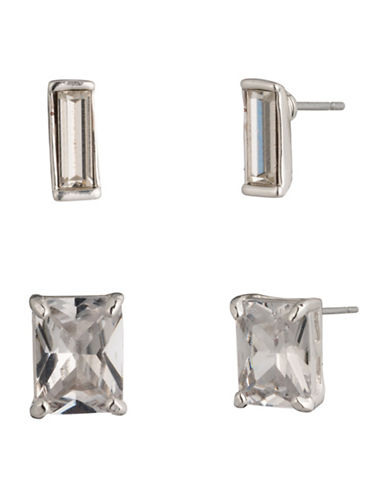 Lauren Ralph Lauren Set of Two Crystal and Silver Stud Earrings-WHITE-One Size