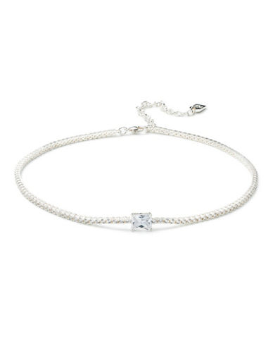 Lauren Ralph Lauren Pavé Crystal and Silver Choker Necklace-WHITE-One Size