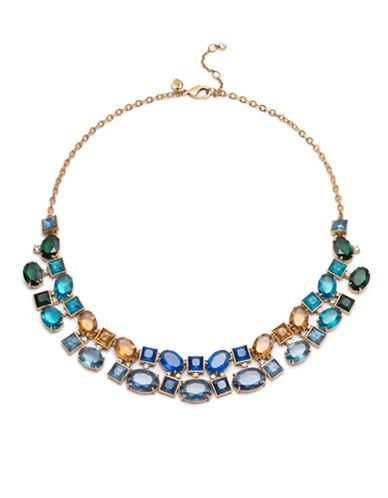 Carolee Pacific Gala Crystal Multi Stone Link Necklace-GOLD-One Size