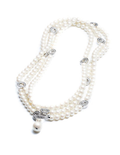 Carolee Invite Only Pearl and Crystal Strand Necklace-SILVER-One Size