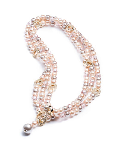 Carolee Invite Only Pearl and Crystal Strand Necklace-GOLD-One Size