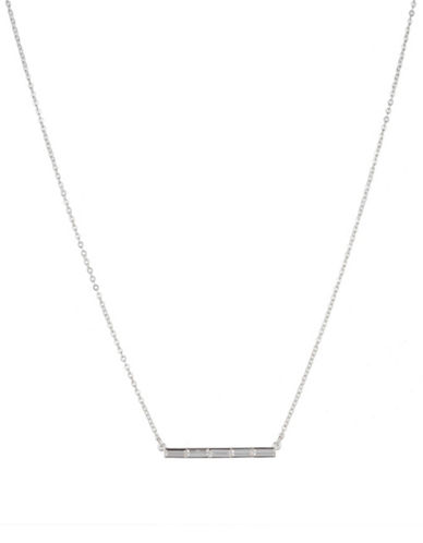Lauren Ralph Lauren Crystal and Silver Bar Necklace-WHITE-One Size