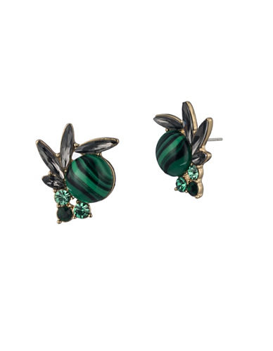 A.B.S. By Allen Schwartz Green Crystal Cluster Stud Earrings-GOLD-One Size