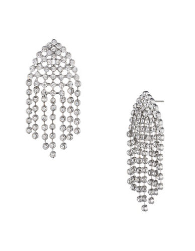 A.B.S. By Allen Schwartz All Ears Crystal Chandelier Earrings-SILVER-One Size