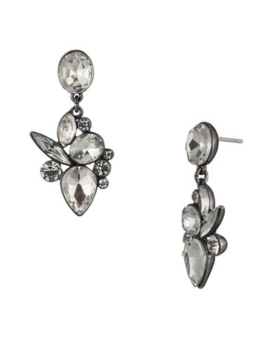 A.B.S. By Allen Schwartz All Ears Crystal Cluster Drop Earrings-SILVER-One Size
