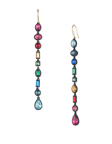 Trina Turk Confetti and Cocktails Crystal Multi Stone Mismatch Linear Earrings-MULTI-One Size