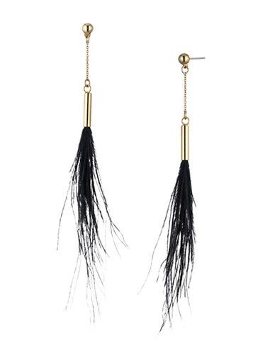 Trina Turk Midnight Studio Ostrich Feather Drop Earrings-BLACK-One Size