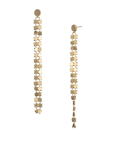 Trina Turk Midnight Studio Chainmail Linear Drop Earrings-GOLD-One Size