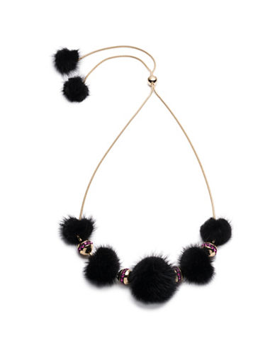 Trina Turk Midnight Studio Fur Pom Pom Necklace-BLACK-One Size