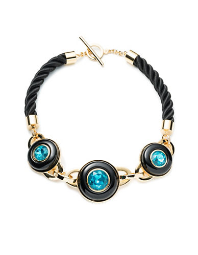 Trina Turk Destination Groove Resin Link Necklace-BLACK-One Size