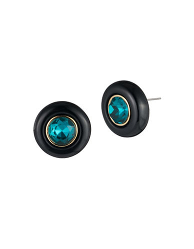 Trina Turk Destination Groove Oversized Crystal Button Earrings-BLACK-One Size