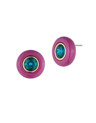 Trina Turk Destination Groove Oversized Crystal Button Earrings-PINK-One Size