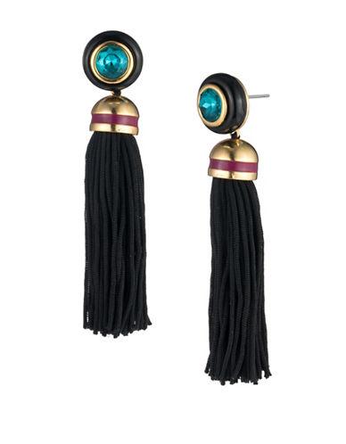 Trina Turk Destination Groove Crystal Disc Tassel Earrings-BLACK-One Size