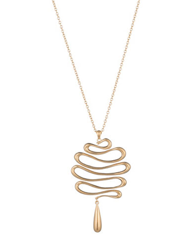 Trina Turk Gold Rush Wavy Pendant Necklace-GOLD-One Size