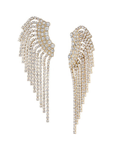 A.B.S. By Allen Schwartz Green With Envy Crystal Rhinestone Fringe Ear Crawlers-GOLD-One Size