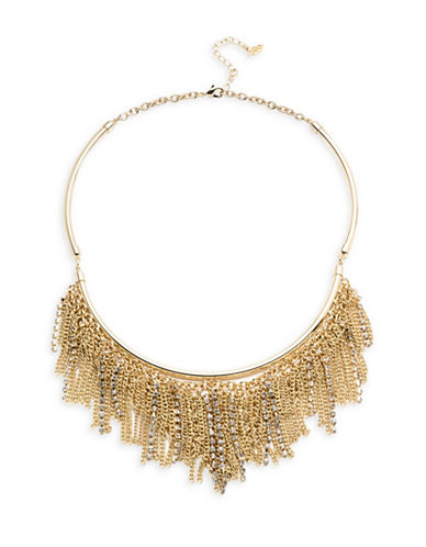 A.B.S. By Allen Schwartz Green With Envy Crystal Chain Rhinestone Fringe Frontal Necklace-GOLD-One Size