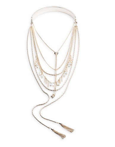 A.B.S. By Allen Schwartz Change of Heart Multi-Strand Crystal Necklace-GOLD-One Size