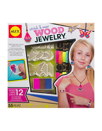 Alex Toys Stitch and Wear Wood Jewellery Kit-MULTI-One Size