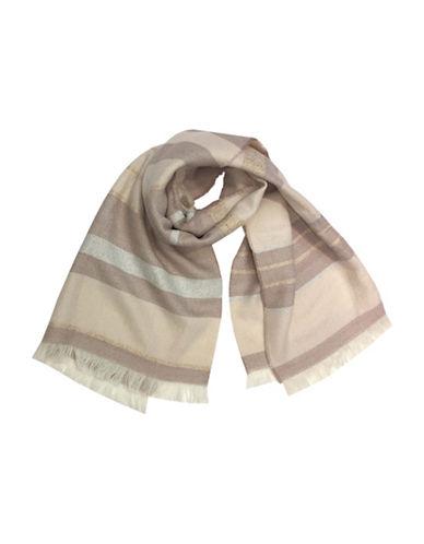 Laundry By Shelli Segal Metallic Stripe Blanket Wrap-PEACH WHIP-One Size