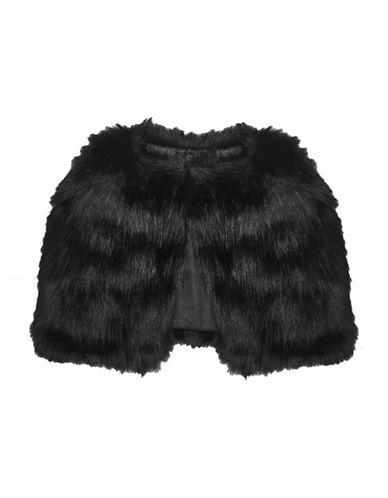 Laundry By Shelli Segal Faux Fur Capelet-BLACK-One Size