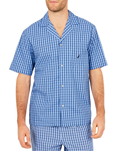 Nautica Woven Button-Up Sleep Shirt-BLUE-Large