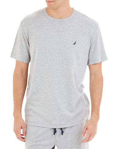 Nautica Solid Knit Sleep Tee-GREY-Medium