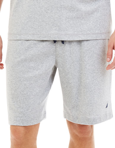 Nautica Solid Jersey Sleep Shorts-GREY-Small