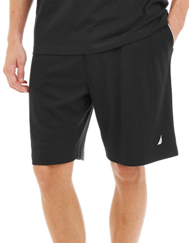 Nautica Solid Jersey Sleep Shorts-BLACK-Large