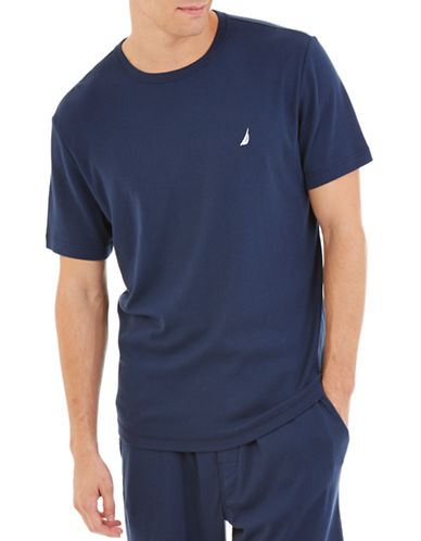 Nautica Solid Knit Sleep Tee-NAVY-Large