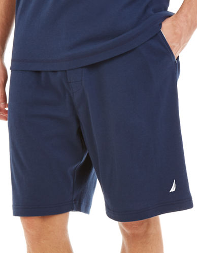Nautica Solid Jersey Sleep Shorts-NAVY-Small