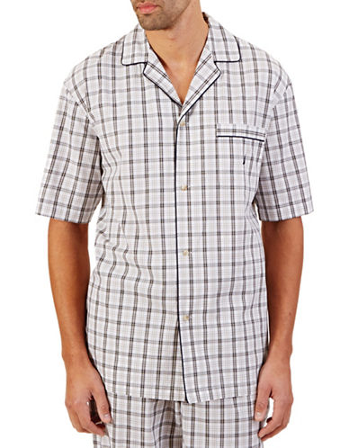 Nautica Plaid Woven Sleep Shirt-OATMEAL-Medium