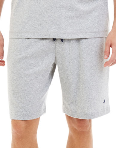 Nautica Big and Tall Knit Lounge Shorts-GREY-1X Big