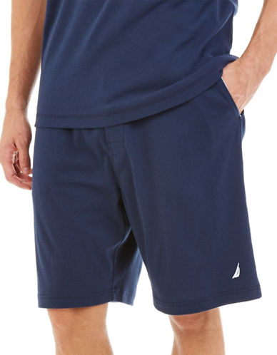 Nautica Big and Tall Knit Lounge Shorts-NAVY-1X Big