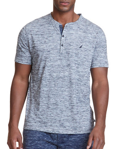 Nautica Regular-Fit Space-Dyed Henley-GREY-Small
