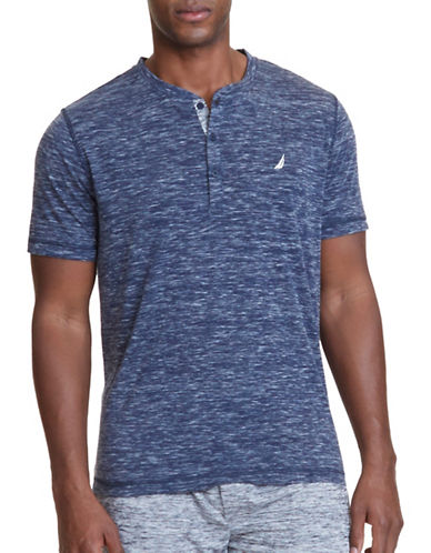 Nautica Regular-Fit Space-Dyed Henley-NAVY-Large