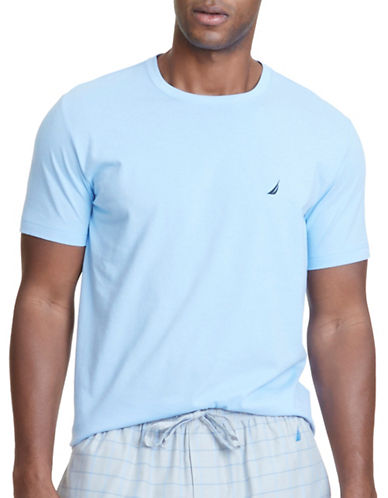 Nautica Solid Knit Sleep Tee-BLUE-Medium