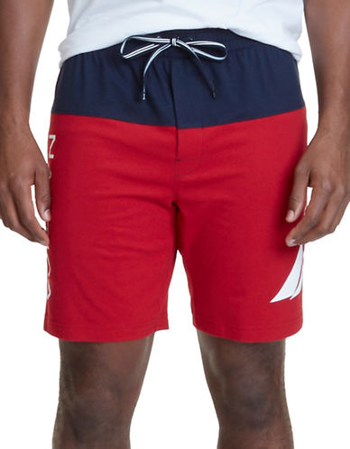 Nautica Cotton Jersey Knit Shorts-RED-Medium
